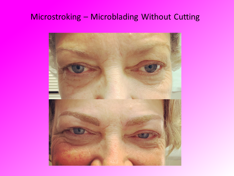 Close Up Comparison of Microblading without Cutting